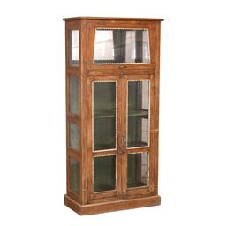 Sale 9216S - Lot 80 - A vintage teak and glass display cabinet with two long doors and a hinged door to top, Height 171cm x Width 76cm x Depth 38cm