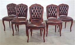Sale 9255 - Lot 1384 - Set of 6 leather buttoned back dining chairs (h:95 x w:50 x d:50cm)
