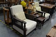 Sale 7981A - Lot 1075 - Pair of Timber Frame Armchairs w Rattan Backs