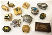 Sale 8436A - Lot 4 - A group of assorted animal related pill boxes including a Charlie hippo, cloisonné, timber and brass etc. (13)