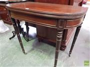 Sale 8485 - Lot 1086 - George III Mahogany Tea Table, with reeded edge & on turned legs with brass castors