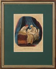 Sale 8753 - Lot 2051 - Honore Daumier (1808 - 1879) - The risks of talking in your sleep (from Mores of Marries Life series), 1842 31 x 24cm