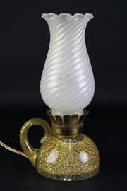 Sale 8887A - Lot 648 - A Barovier & Toso Murano Storm Lamp with Tea Light Holder Style Base (H29cm, in working order)