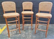 Sale 8996 - Lot 1036 - Set of 3 Bentwood Barstools (h:113 x w:43cm)