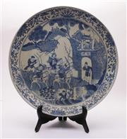 Sale 9027D - Lot 769 - A Blue and White Chinese Charger with Figural Design (Dia 43cm)
