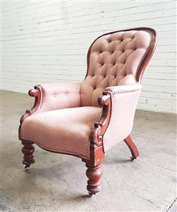 Sale 9162 - Lot 1017 - Victorian mahogany armchair, with balloon back, upholstered in buttoned pink small diaper fabric, raised on turned legs (H: 98 x W:...