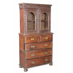 Sale 9216S - Lot 54 - A vintage distressed teak buffet and hutch featuring carving to doors, two short and three long drawers, Height 171cm x Width 93cm x...