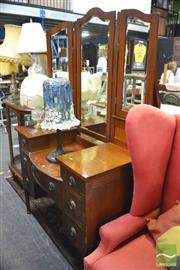 Sale 8347 - Lot 1059 - Tall Winged Back Mirrored Dressing Table on Turned Legs
