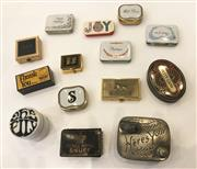 Sale 8436A - Lot 27 - A group of vintage novelty boxes including A timber Prince Royal Snuff box, an EPBM hinged pin dish and sundry novelty pill boxes. (14)