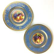 Sale 8607R - Lot 75 - George Jones & Sons Pair of Ceramic Cabinet Plates with Gilt Details Depicting Fruit (D: 23cm)