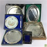 Sale 8648A - Lot 181 - Collection Silver Plated Trays inc Strachan Together with An Aynsley Plate and Knife