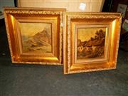 Sale 8682 - Lot 2093 - 2 Works: Cottage Scene & Cliff Scene