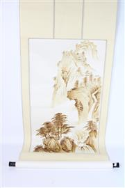 Sale 8748 - Lot 99 - Brown Painted Chinese Scroll Of Mountain Scene