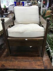 Sale 8942 - Lot 1042 - Timber Armchair (Some Losses To Upholstery) H:71 x W:58 x D:70