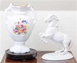 Sale 9103M - Lot 719 - A Victorian style ceramic vase with floral decoration Height 32cm together with an Austrian white ceramic horse.