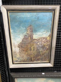Sale 9159 - Lot 2023 - Desiderius Orban Cityscape mixed media on board 61 x 49cm (frame) signed lower left -