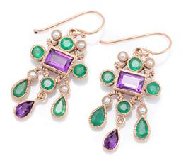 Sale 9246J - Lot 354 - A PAIR OF EDWARDIAN STYLE AMETHYST EMERALD AND PEARL EARRINGS; articulated drops set in 9ct gold with rectangular and pear cut ameth...