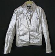 Sale 7982B - Lot 70 - Calvin Klein, a Space Age leather button up bomber jacket (M)