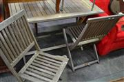 Sale 8066 - Lot 1081 - Timber Outdoor table and 2 Chairs