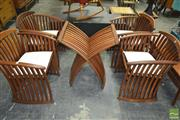 Sale 8260 - Lot 1076 - Set of Four Teak Steamer Chairs & Table Base