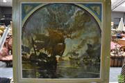 Sale 8379A - Lot 8 - Artist Unknown, Nautical Battle Scene, acrylic on canvas, 120 x 120cm stretched.