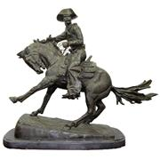 Sale 8332 - Lot 10 - Bronze Figure Group Cowboy After Frederic Remington