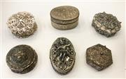 Sale 8436A - Lot 44 - A group of dainty metal pill boxes some with filigree work. (6)