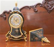 Sale 8470H - Lot 45 - A Swiss bracket clock, maker Zenith Maîtres Renduliers, au locle Suisse, with star burst handles, together with matching wall bracke...