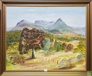 Sale 8600 - Lot 2029 - E J Evans - Warrumbungles, oil on canvas board, 60 x 74cm, signed lower right