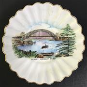 Sale 8793 - Lot 7 - Sydney Harbour Bridge, a small illustrated Shelley dish, 10cm in diameter