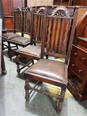 Sale 8956 - Lot 1065 - Set of Eight Oak Dining Chairs, with slatted backs, brown leather drop-in seats & turned legs (H:108.5 x W:44.5 x D: 51cm)