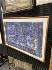 Sale 9053 - Lot 2026 - Artist Unknown Untitled (Blue), ink and collage, frame: 69 x 105 cm, unsigned
