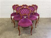 Sale 9080 - Lot 1098 - Set of 6 mahogany balloon back dining chairs with purple velvet upholstery (H:88 W:44 D:40cm)