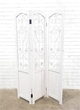 Sale 9108 - Lot 1021 - Timber three panel screen with ornate metal inserts (h177 x w120cm)