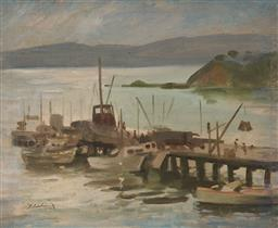 Sale 9125 - Lot 597 - Bruce Fletcher (1937 - ) Jetty Scene oil on canvas laid on board 44 x 65.4 cm (frame: 62 x 73 x 4 cm) signed lower left. Provenance:...