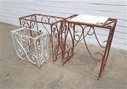 Sale 9151 - Lot 1451 - Iron and marble occasional table Plus two other table frames