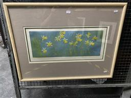 Sale 9159 - Lot 2029 - Edith Cowlishaw  Daffodils colour etching ed. 5/30 57 x 76cm (frame) signed lower right -