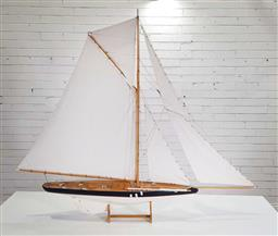 Sale 9188 - Lot 1675 - Vintage timber pond yacht on stand (h:143 x w:127cm)