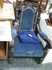 Sale 7937A - Lot 1177A - Heavilly Carved Armchair in Blue