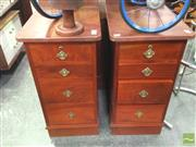 Sale 8412 - Lot 1025 - Pair of Timber Bedsides with Four Drawers