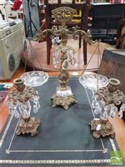 Sale 8455 - Lot 1026 - Gilt Metal Decorative Scales with Glass Trays Together with Pair of Gilt Metal Candle Sticks with Crystal Drops