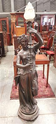 Sale 8714 - Lot 1097 - Cast & Patinated Metal Classical Greek Lady Floor Lamp, wearing robes, sandals & wreath of roses, raising a sceptre with flame shade