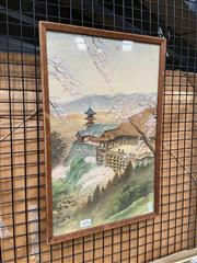 Sale 8927 - Lot 2034 - Chinese School - Temple in the Mountain gouache and wash on silk, signed and stamped