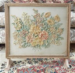 Sale 9103M - Lot 591 - A Fire screen depicting a bouquet of posies in felt behind glass.