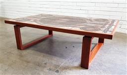 Sale 9117 - Lot 1059 - Vintage tile top table over timber base, marked OX-ART (h:42 x w:145 x d:85cm)