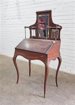 Sale 9126 - Lot 1083 - Napoleon III Rosewood Marquetry Bureau, the mirror back with small shelves on brass columns, above a floral inlaid writing slope enc...