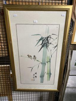 Sale 9159 - Lot 2051 - Chinese School Birds and Bamboo watercolour 83 x 51 cm (frame) signed lower centre -