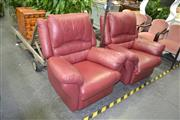 Sale 8046 - Lot 1054 - Pair of Maroon Leather Upholstered Recliners