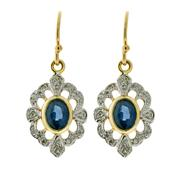 Sale 8265 - Lot 393 - A PAIR OF SAPPHIRE AND DIAMOND EARRINGS; each a blue sapphire and round brilliant cut diamond cluster on a shepherds hook in 9ct gold.