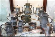 Sale 8379 - Lot 179 - Copper Saucepans with Other Metal & Pewter Wares incl. Teapots